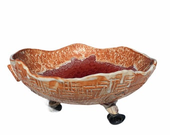 """Vtg. Abstract Tri Footed Serving Fruit Bowl 11"""""""