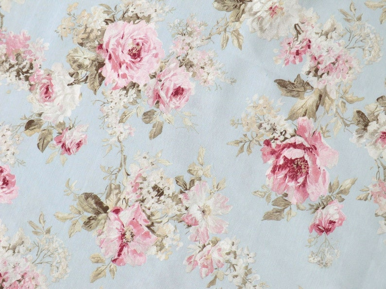 Romance country house shabby rose fabrics large rose blossoms in pink on blue light grey perfect for pillow cover drapes upholstery Fabric