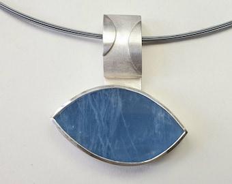 Large aquamarine pendant in silver and palladium