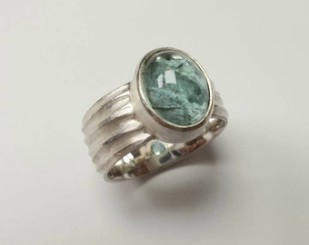 Ring of silver with green rutilquarz