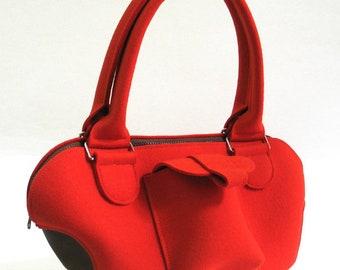 "Bag Red ""EMMA"" 100% wool felt & leather bottom"