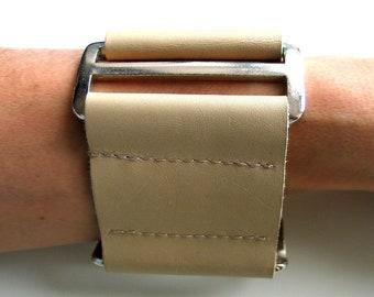 Leather Bracelet cream-Bando 100% Leather