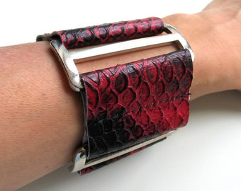 Leather bracelet REDBLACK-Bando 100% Leather