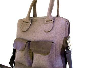 """Shoulder HoBo bag """"B-Smart"""" 100% wool felt with leather details"""