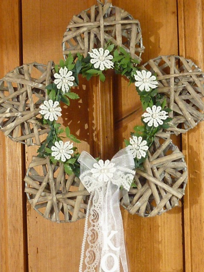 Door Wreath Turschmuck Flower Communion Baptism Shappy Etsy