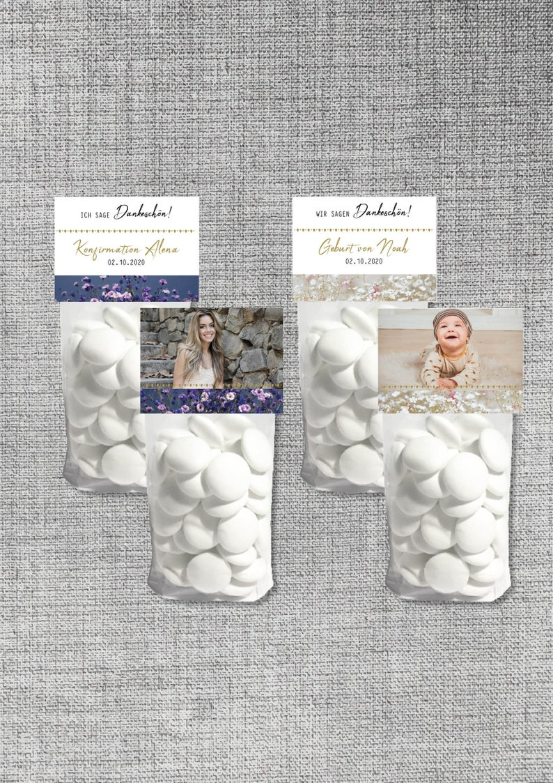 10 Personalized Thank You Bags Candy Candy Pouch with Picture Photo Guest Gift Wedding Communion Confirmation Baptism Birth