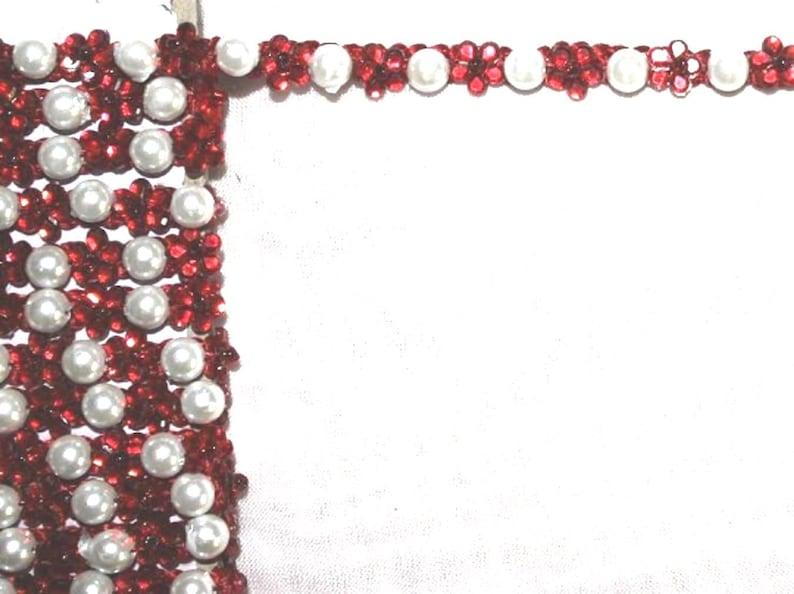 Borte rhinestone 8 mm 1 m red white pearl and rhinestone variety