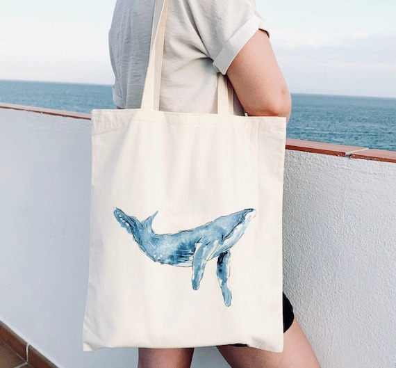 Natural cotton Humpback Whale tote bag