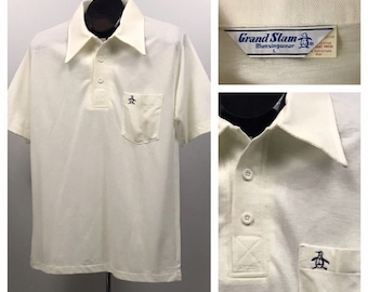 58e4c83af 1970s Penguin Polo Shirt /70s NOS White Three Button Knit Polo Shirt  Embroidery / Men's S/M