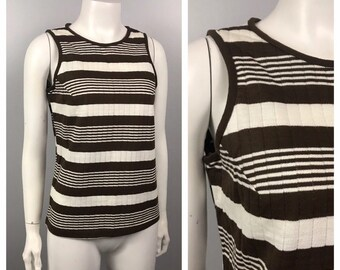 b10efc8077d8c 1960s Stripe Tank Top   Brown and White Sleeveless Blouse Shirt   Women s  Small