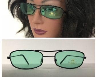 6aeeb89cb5 Vintage NOS Deadstock 1990s Wire Frame Green Lens Narrow Hippie Sunglasses    Unisex Large   90s Retro Grunge Eyewear Unworn