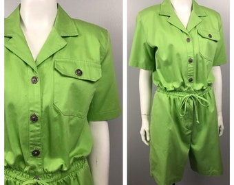 09b57d29ee 1990s Romper   Lime Green Cotton One Piece Suit Shorts   Women s S M