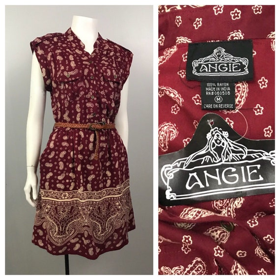 Vintage NOS 1990s Burgundy Red Paisley Busy Print