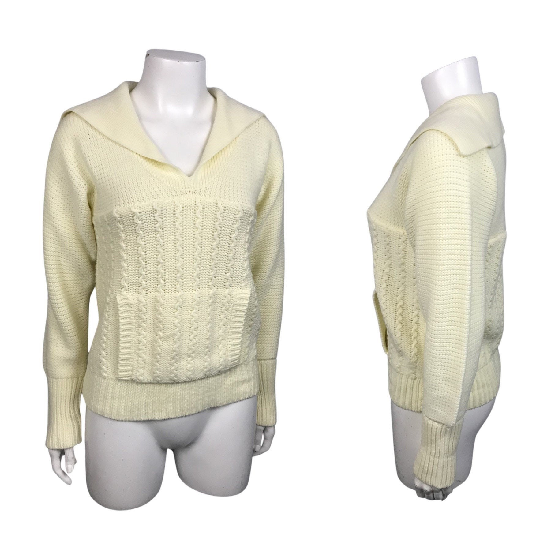 80s Sweatshirts, Sweaters, Vests | Women 1980S SweaterBeige Cable Knit Pullover With Front Pocket Pouch Womens Xs $45.50 AT vintagedancer.com