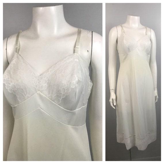 1960s Full Slip / White Nylon Floral Embroidery S… - image 1