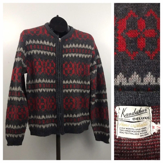 1960s Zip Up Sweater  / 60s Red Gray Wool Cardigan