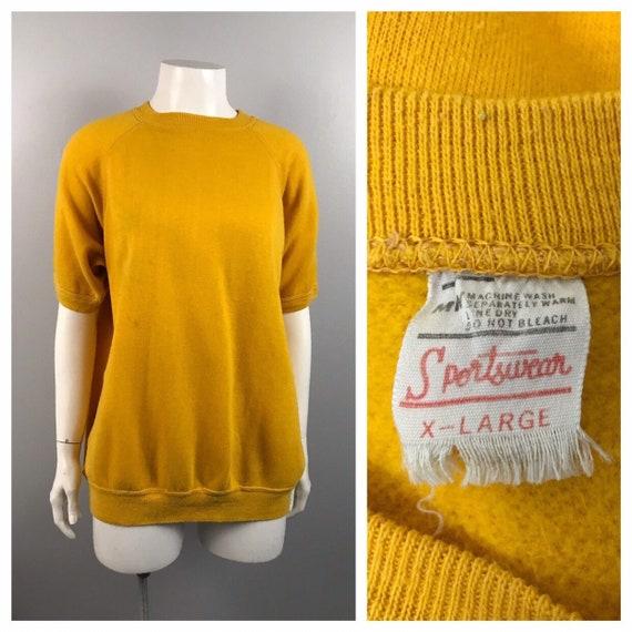1960s Yellow Sweatshirt / 60s Cotton Threadbare Sw