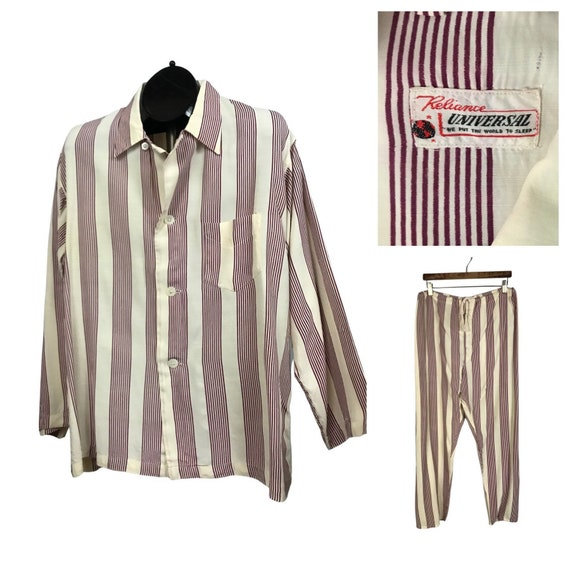 1950s Mens Pajamas Set / Rayon Stripe Loungewear P