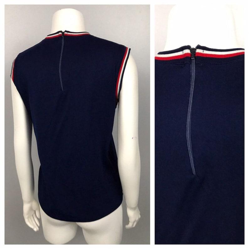 1960s Stripe Blouse Top  Navy Blue Mod Sleeveless Blouse Shirt  Women/'s Medium