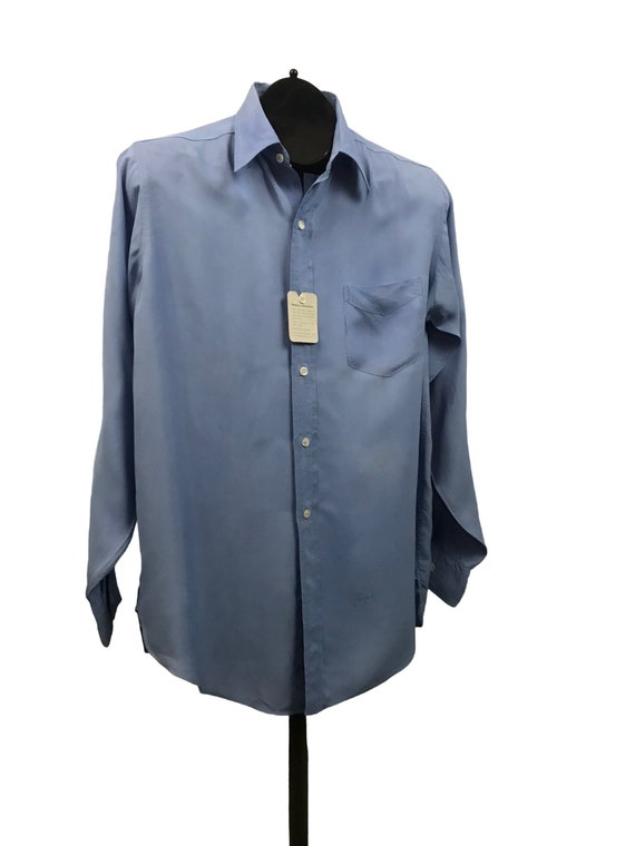 1950s Button Down Shirt / 50s NOS Baby Blue Rayon… - image 3
