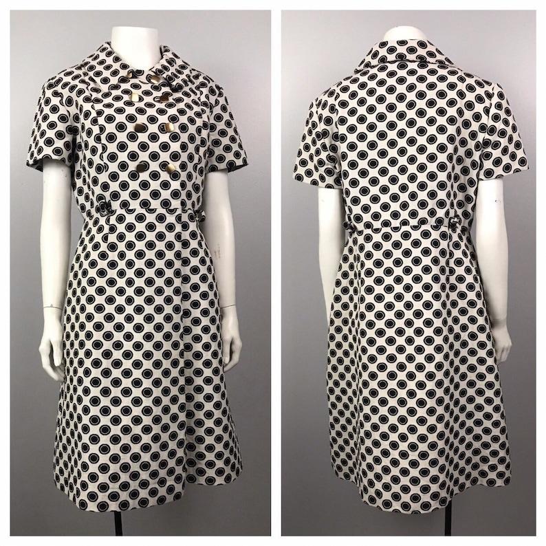 1960s Black and White Polka Dot Double Breasted Style Dress Short Sleeve  Women/'s Medium  60s Mod GoGo Designer Mini Dress