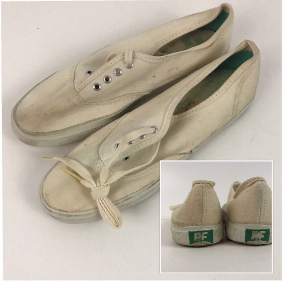 1960s PF Flyers Converse Shoes / NOS White Canvas