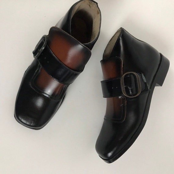 1960s Buckle Toe Shoes / 60s NOS  Black with Brown