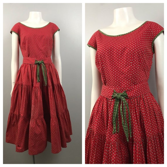 1940s Patio Dress Set / Red Cotton Dress Circle Sk