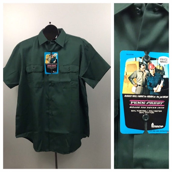 1970s Button Down Shirt / 70s NOS Green Button Dow