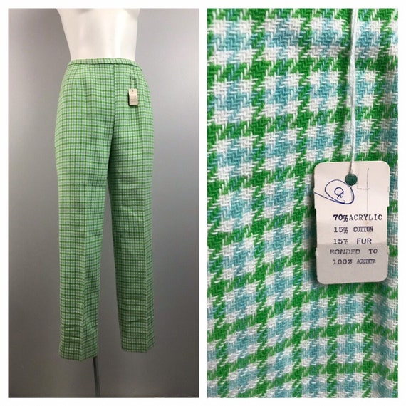 1950s Pants / NOS 50s Houndstooth Wool Ankle Pants