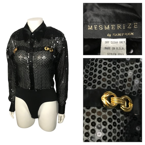 1980s Sequin Blouse Leotard / Sheer Black See Thro