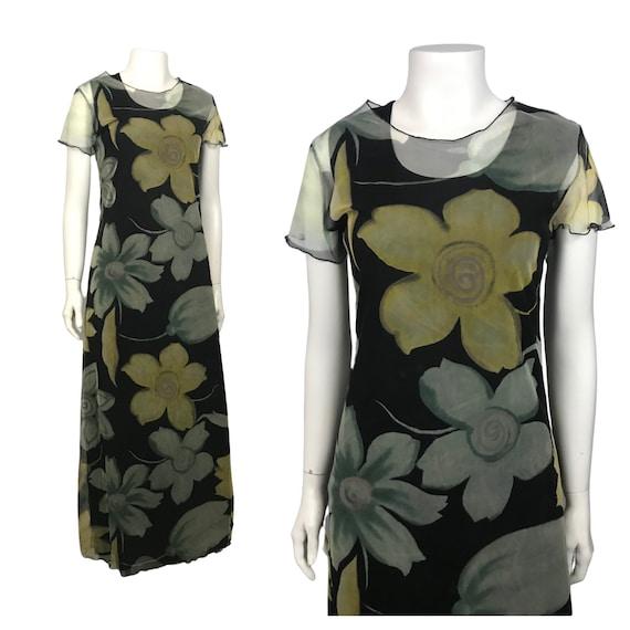 1990s Maxi Dress / 90s Floral Sheer Long Dress Flu