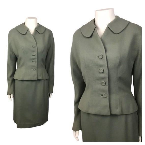 1950s Suit Dress Set / Muted Green Wool Cropped Ja