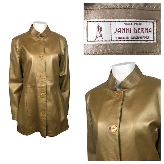 1990s Gold Vinyl Coat / 90s Mod Janni Derma Button