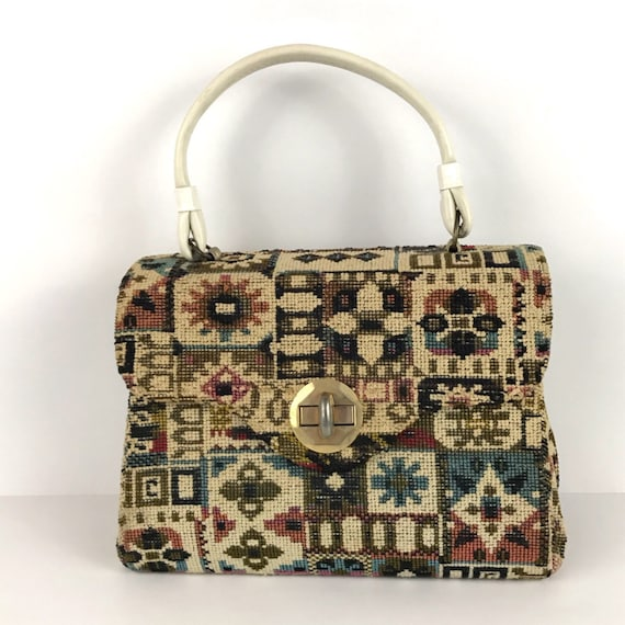1960s Tapestry Purse / Multi Colored Carpet Bag To