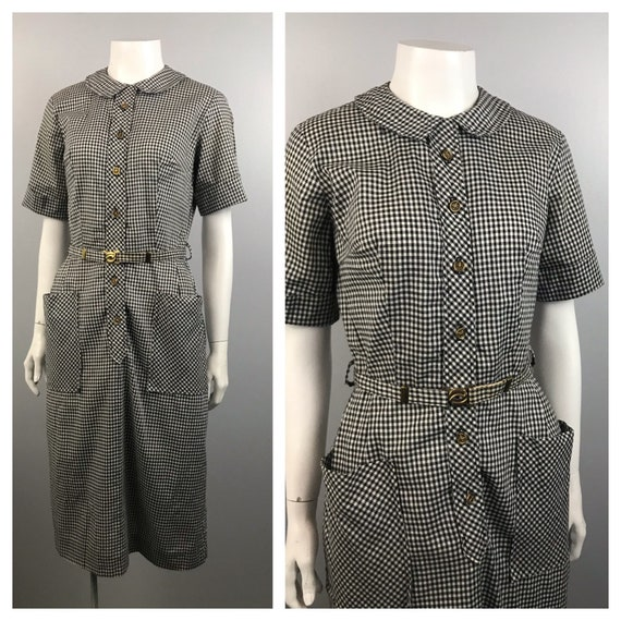 1950s Dress / Black and White Gingham Cotton Belte