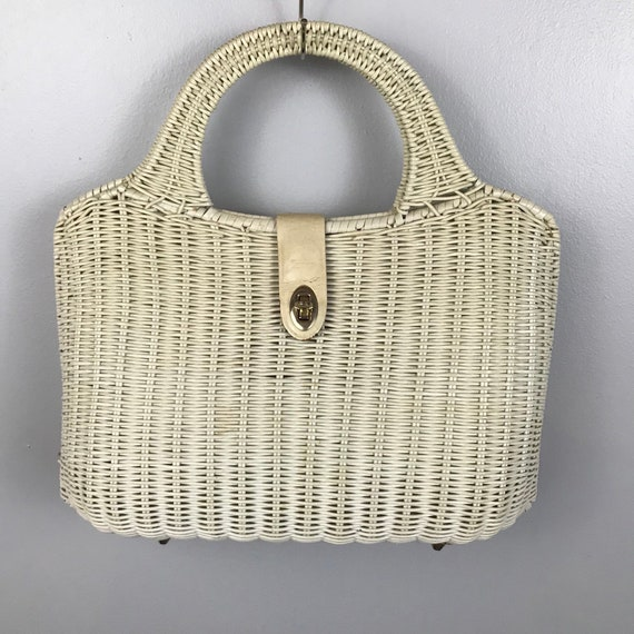 1960s Large White Wicker Handbag / 60s Woven Overs