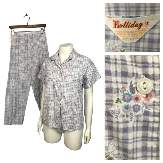 1960s Women's Pajamas Set / Purple Cotton Sleepwea