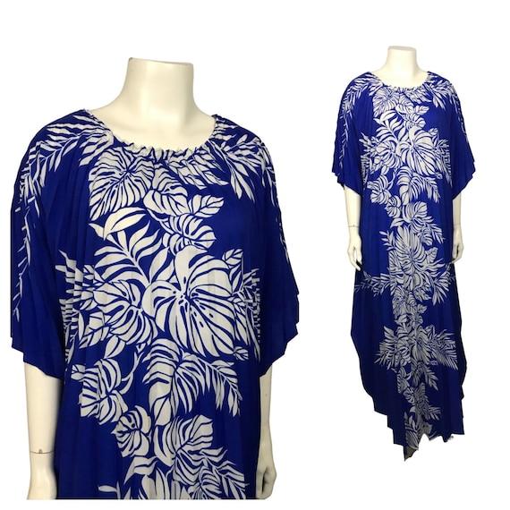 1980s Hawaiian Fan Dress / Blue Floral Print Pleat