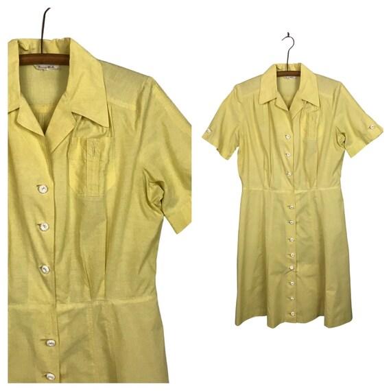 1950s Dress / Yellow Button Up Short Sleeve House