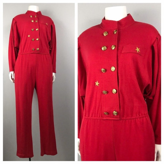 1980s Jumpsuit / Red One Piece Suit Dolman Sleeves