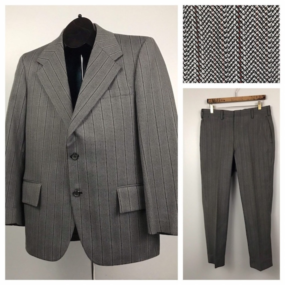 1970s Pinstripe Suit / 70s Gray & Red Stripe 2 But
