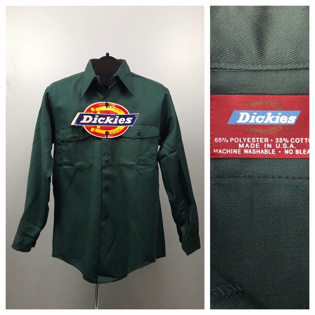 1970s Mens Shirt Styles – Vintage 70s Shirts for Guys Vintage Dickies Button Down Work Shirt80S Nos Green Wear Unworn Mens Small $22.50 AT vintagedancer.com