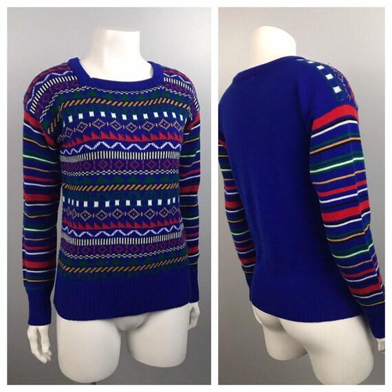 1980s Sweater / 80s Geometric Stripe Retro Sweater