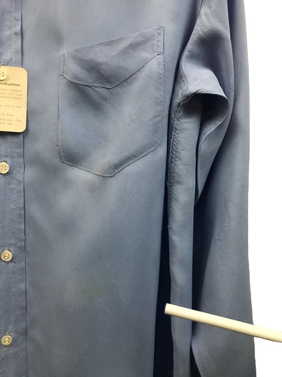 1950s Button Down Shirt / 50s NOS Baby Blue Rayon… - image 4