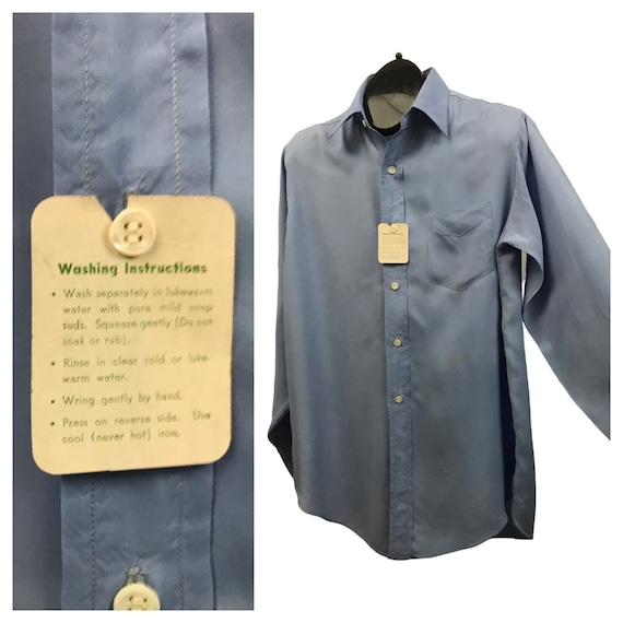 1950s Button Down Shirt / 50s NOS Baby Blue Rayon… - image 7