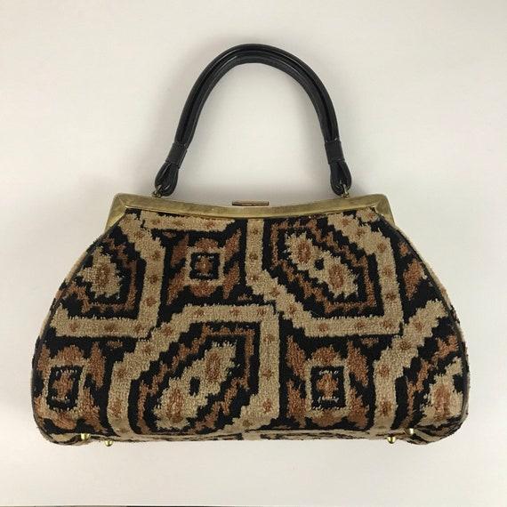 1960s Tapestry Purse / Brown Carpet Bag Top Handle