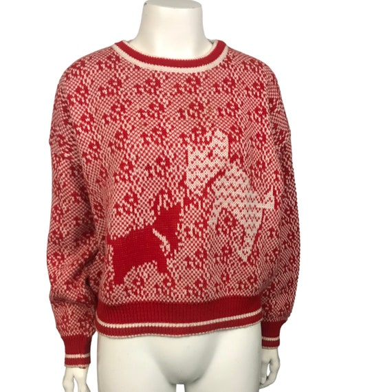 80s 90s Black Red /& White Three Dalmatian Dog Puppy Bold Print Long Sleeve Crew Neck Cable Knit Pullover Sweater Size Women/'s Large