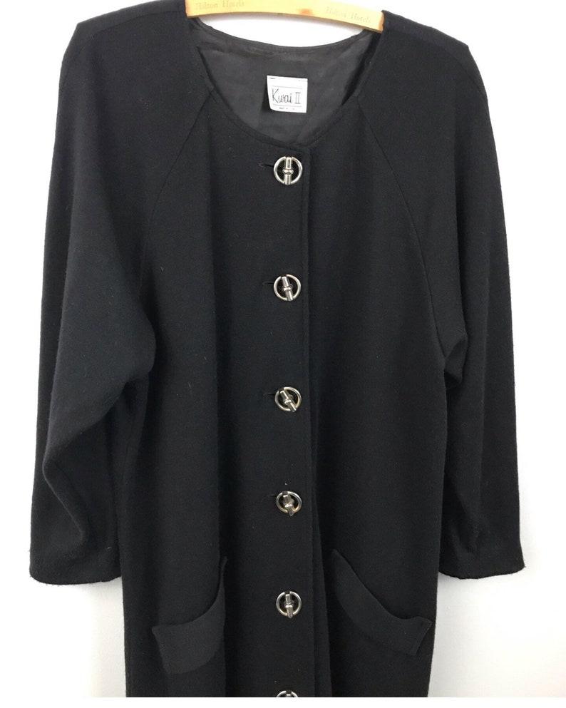 1980s Sweater Dress  80s Button Up Tunic Style Oversized Dress Long Sleeve  Women\u2019s XL