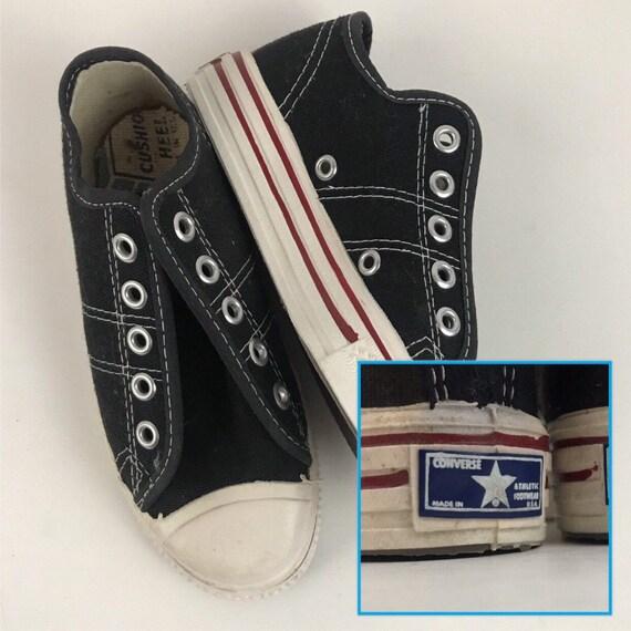 1970s Converse Shoes / 70s NOS Black Lace Up Baske